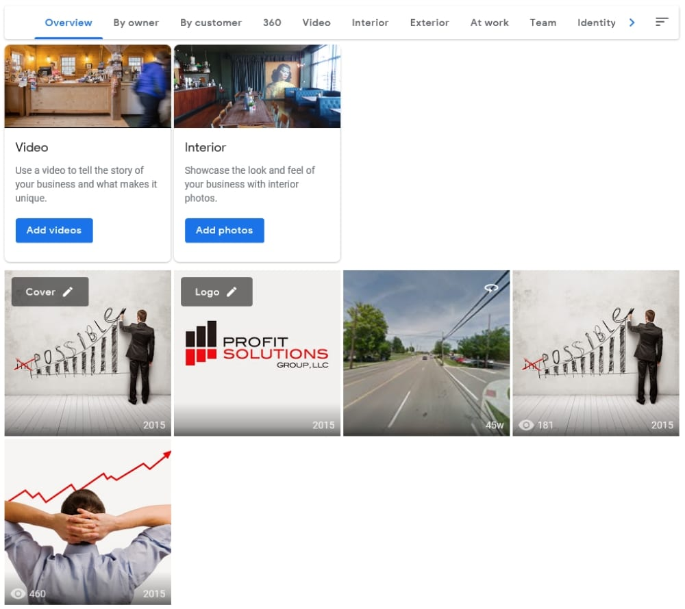 Google My Business Photos and Videos Before GMB Doc Optimization