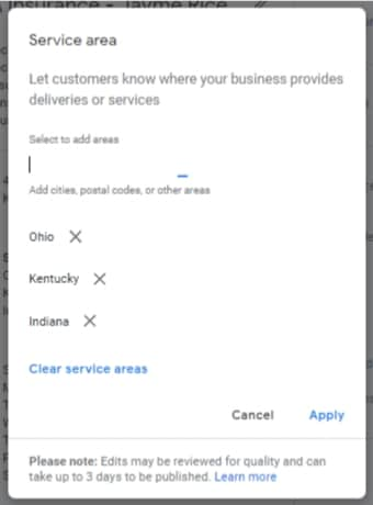 Google My Business Service Area After GMB Doc Optimization